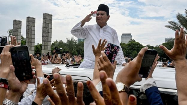 Prabowo Subianto is a former general who also ran against Mr Widodo in 2014